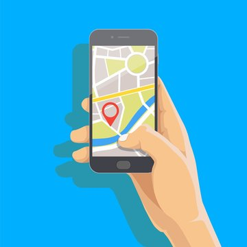 Man's hand holding phone with map and marker. Mobile gps navigation and tracking concept. Flat vector cartoon illustration for web sites, banners. Location track app on touch screen smartphone