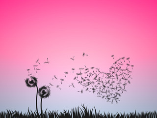 Love illustration concept, two dandelion flowers blow in the pink sky. Valentine background for banner, poster, greeting card, or print.