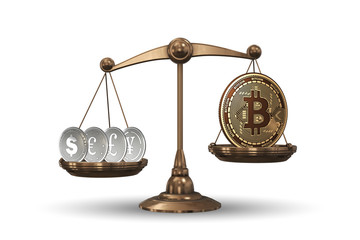 Scales with bitcoins and other currencies - 3d rendering