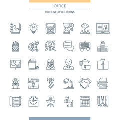 Thin line design office icons