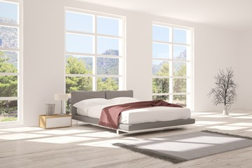 Inspiration of white minimalist  bedroom with summer landscape in window. Scandinavian interior design. 3D illustration