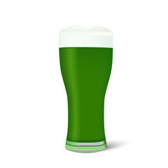 Realistic glass of green beer isolated on white background. Vector illustration