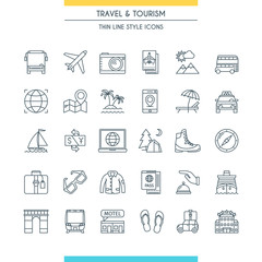 Thin line design travel icons