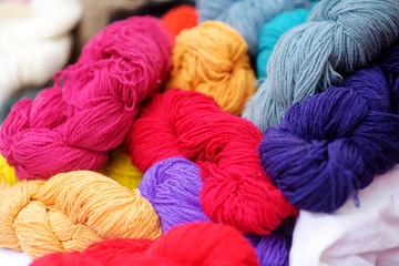 Many skeins of wool felting