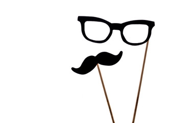 Photo booth props glasses and mustache isolated on a white background