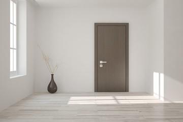 White empty room with door. Scandinavian interior design. 3D illustration