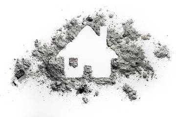 House or home silhouette drawing in ash or dust