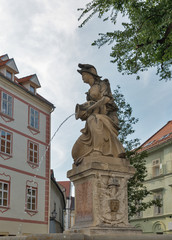 Woman with a vase or Nymph fountain in Bratislava, Slovakia.