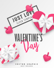 Valentines Day banner. Romantic vector template with gift box, hearts and typography for St valentine or Birthday Greeting card