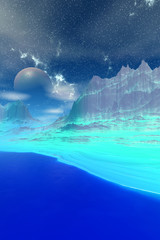 Alien Planet. Mountain and  water. 3D rendering