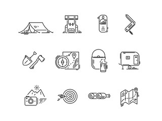 Line icons set of hiking tourism, camping.