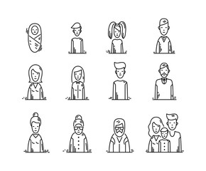 line icons Family people avatars kids parents grandparents.