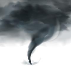 Tornado Sky Realistic Black White