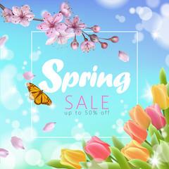 Realistic 3d spring sale script lettering web banner template. Color pink sakura cherry blossom tulip flower blue sky landscape background design shop square social poster vector illustration