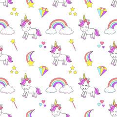 Magic cute unicorn with magic elements