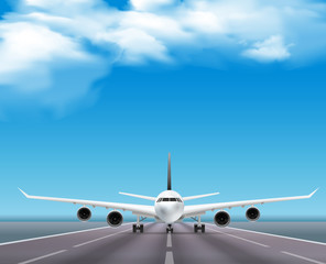 Airplane On Runway Realistic Poster