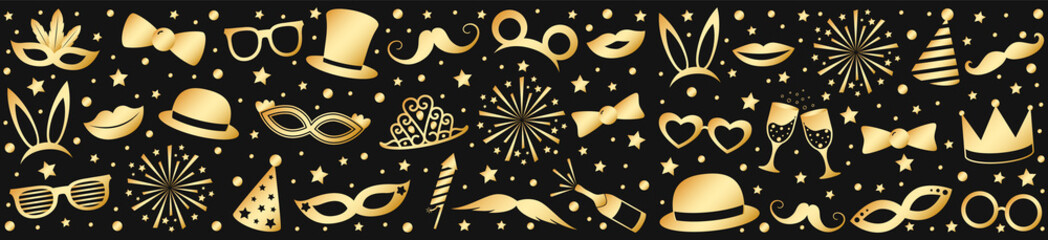 Banner with golden costumes for carnival party, birthday party or photobooth. Vector.