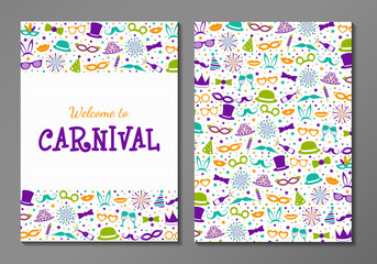 Carnival Party - two sided layout of invitation with funny icons. Vector.