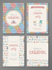 Collection of pastel coloured posters for Carnival Party. Vector.