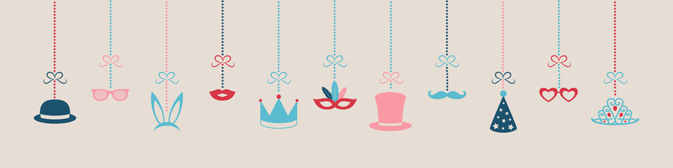 Hanging decorations for carnival party, birthday party or photobooth. Vector.