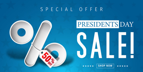 Banner for presidents day sale design . Presidents day sign on a dark blue background with 3d percent symbol. Vector illustration for business promotion.