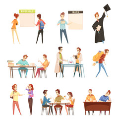 Students Retro Cartoon Set