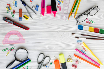 Colorful composition of school materials