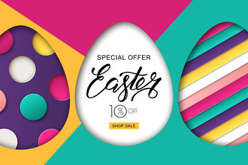Happy Easter sale banner. Colorful Easter eggs and 3d abstract multicolor paper cut shapes. Design for holiday flyer, poster, greeting card, party invitation. Vector illustration.