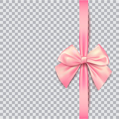 Pink bow for packing gifts. Realistic vector illustration on tra