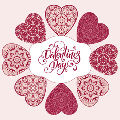 Decorative Valentine greeting card with floral ornate hearts and lettering. Vector illustration EPS 10.