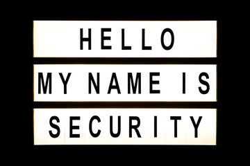 Hello my name is security hanging light box