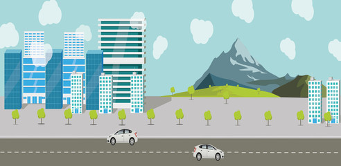 City skyscrapers, traffic transport. Salted trees over over the gift. Ilustration and style, road and cars. Work office and mellow complexes. Landscape mountains, trees and grass for travel and walks.