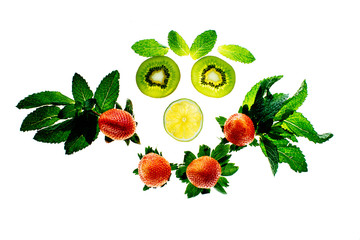 happy face made of fruits