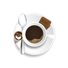 coffe cup with cream and cookies illustration