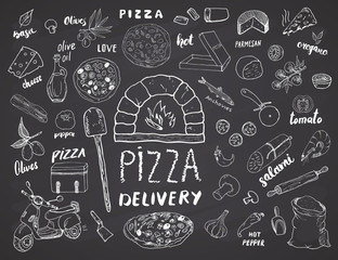 Pizza menu hand drawn sketch set. Pizza preparation and delivery doodles with flour and other food ingredients, oven and kitchen tools, scooter, pizza box design template. Vector illustration