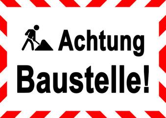 ks282 Kombi-Schild - Gefahrenbereich - Achtung Baustelle! - Bauarbeiter im Einsatz - gesperrt - Zutritt auf eigene Gefahr - DIN A1 A2 A3 A4 A5 Poster - xxl g5808