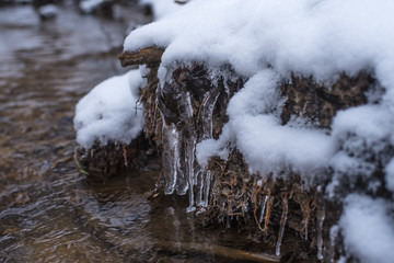 Snow and ice in the spring stream