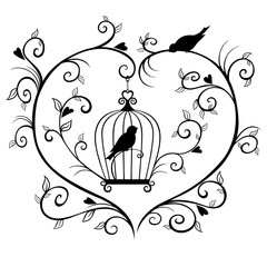 Caged bird silhouette framed with branches in the shape of a heart.