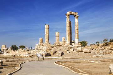 The ruins of the temple of Hercules in the citadel of Amman, Jordan