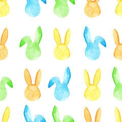 Watercolor bunny seamless pattern. Easter holidays. For design, card, print or background