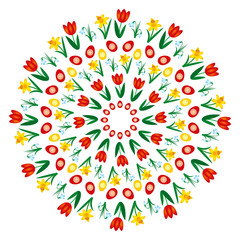 vector colored circular round easter spring mandala with flowers and eggs - adult coloring book page - red tulip, yellow daffodil and white snowdrop