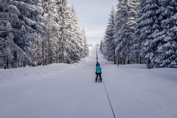 """The ski resort """"Todtnauberg"""" is one of the most famous in the black forest. There is a special lift that drags the skiers up to the top of the """"Stübenwasen"""". This kind of slow lift is very seldom."""
