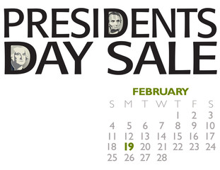 Presidents Day Sale Poster with Lincoln and Washington