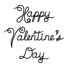Valentine's Day calligraphy. Handwritten design of Happy Valentine's Day lettering for holiday card. Vector Illustration