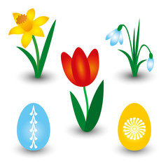 vector set of three spring flowers and two easter eggs with pattern - red tulip, yellow daffodil and white snowdrop