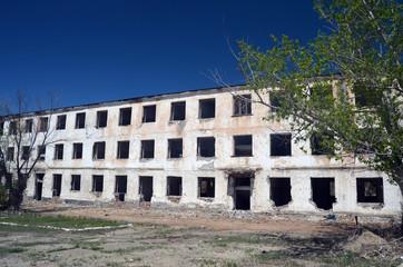 Abandoned Soviet military base in Central Asia.West Bank of Balkhash Lake