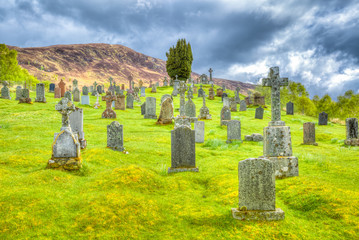 Cille Choirill Church and Graveyard scenic cemetery on the hills of the west Scottish Highlands, in Glen Spean, Lochaber area, United Kingdom.
