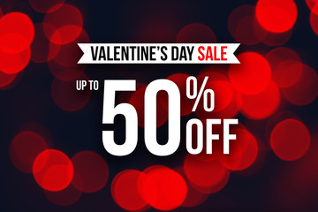 Special Valentine's Day Sale Up To 50% Off Text Over Red Duotone Lights, Horizontal