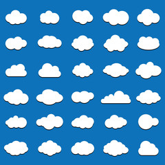 Cloud  icon set white color on blue background. Sky flat illustration collection for web.