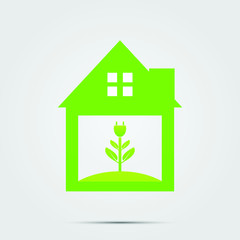 Ecological symbol of a green home socket or green logo. vector illustrations